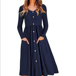 Dresses & Skirts - Women's long sleeve button down skater dress